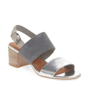 NEW TOMS Poppy Sandal, Shade Suede/Silver , 6.5